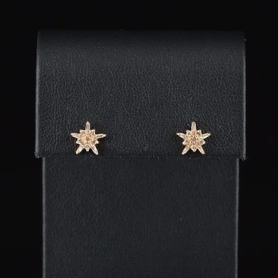 14K 0.28 CTW Diamond Star Stud Earrings