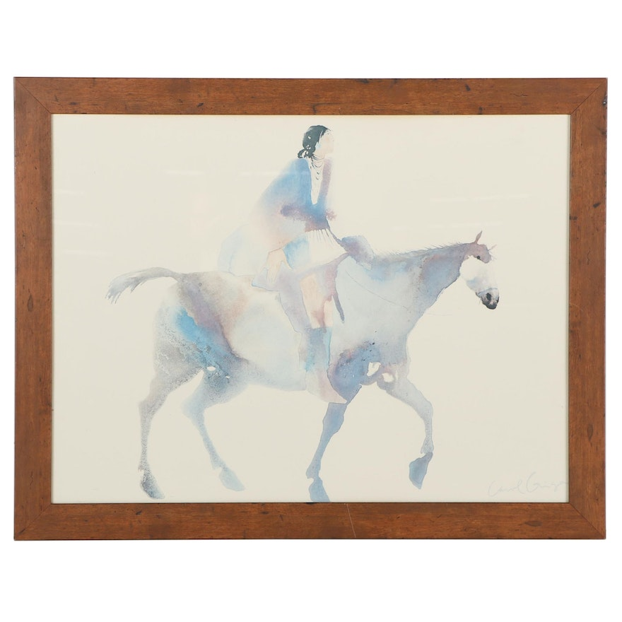Offset Lithograph After Carol Grigg of Woman on Horseback, Late 20th Century