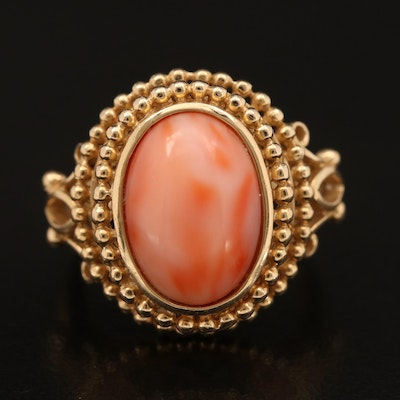 14K Coral Ring in Beaded and Wirework Setting