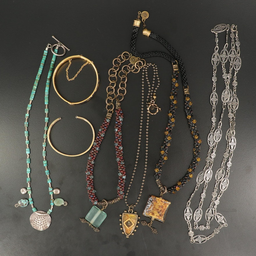 Beaded Jewelry Collection with Damascene and Krementz Bracelets