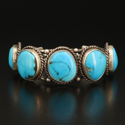 Sterling Turquoise Bezel Wire Wrapped Cuff
