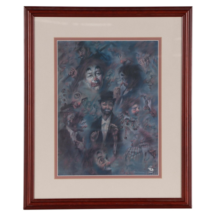"""Offset Lithograph After Paul Murray """"How Many Clowns,"""" Late 20th Century"""