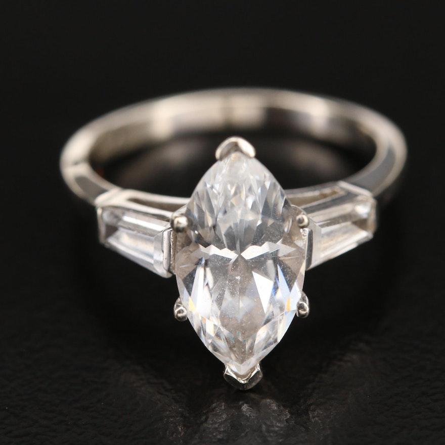 14K White Spinel Navette Ring