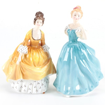 """Royal Doulton """"Coralie"""" and """"Enchantment"""" Bone China Figurines, Mid-20th Century"""