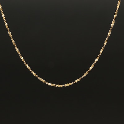 Italian 14K Twisted Serpentine Chain Necklace