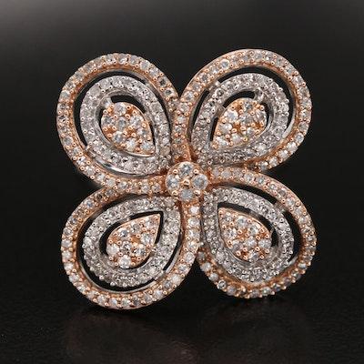 14K 1.00 CTW Diamond Flower Ring