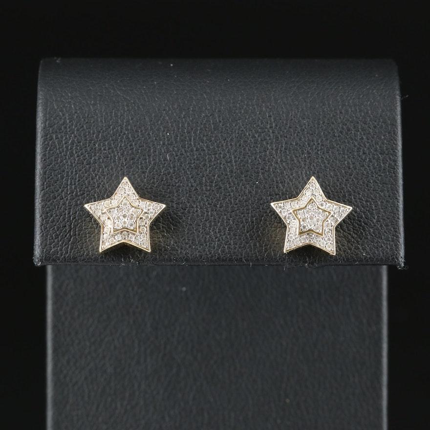 10K 0.31 CTW Diamond Star Stud Earrings