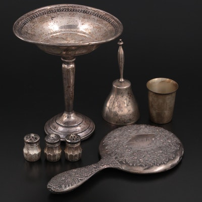 American Sterling Silver Table Accessories and Hand Mirror, Early to Mid 20th C.