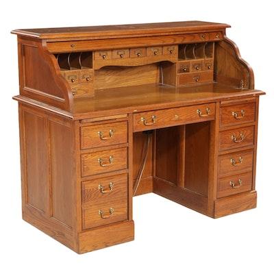Broyhill Victorian Style Oak Roll-Top Desk, Late 20th Century