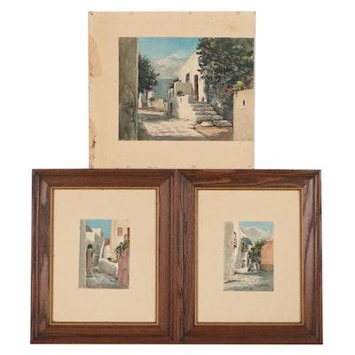 Efthimios Klonaridis Watercolor Painting of Greek Street Views, Mid-20th Century