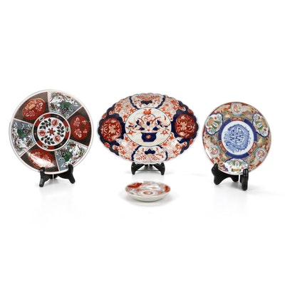 Japanese Imari and Other Porcelain Plates with Stands