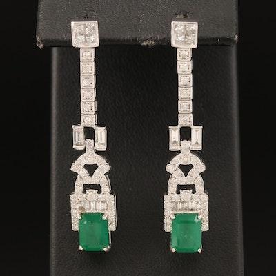 14K 3.34 CTW Emerald and 1.76 CTW Diamond Earrings