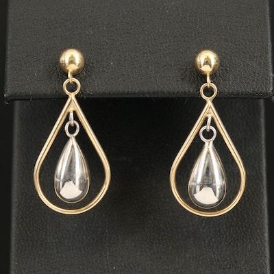 14K Two Tone Teardrop Earrings