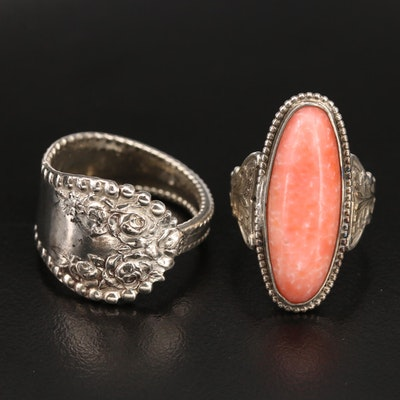 Sterling Spoon and Coral Pointer Rings