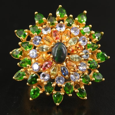 Sterling Cluster Ring with Opal, Diopside and Yellow Sapphire