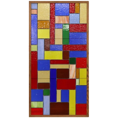Modern Large-Scale Stained Glass Block Panel