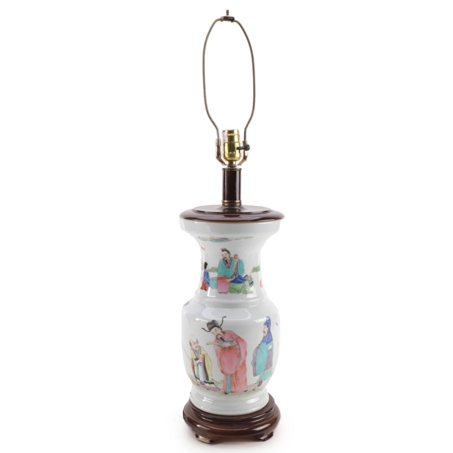 Chinese Porcelain Famille Rose Sanxing Deities Zun Shaped Vase Table Lamp