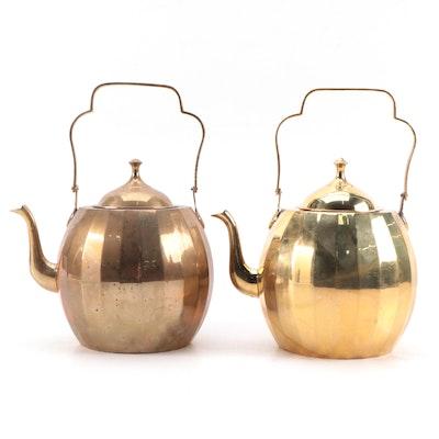 Wildwood Accents Indian Paneled Brass Tea Kettles