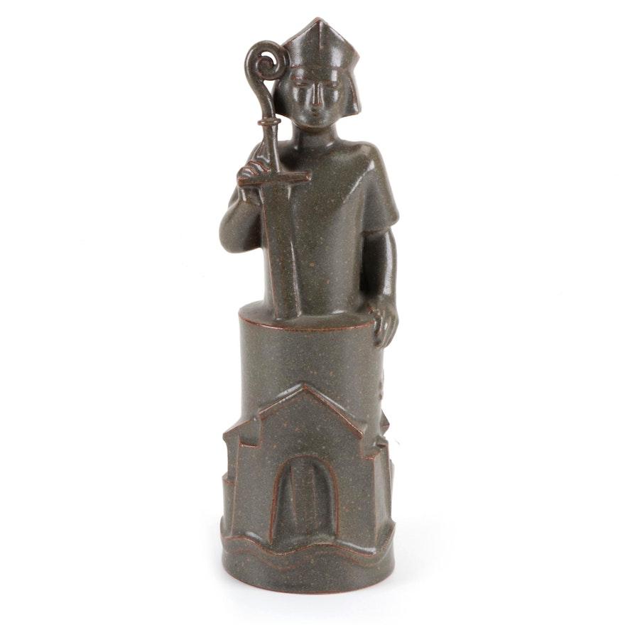 """Jacob Bang """"Bishop Absalon"""" Danish Stoneware Figure, 1967"""