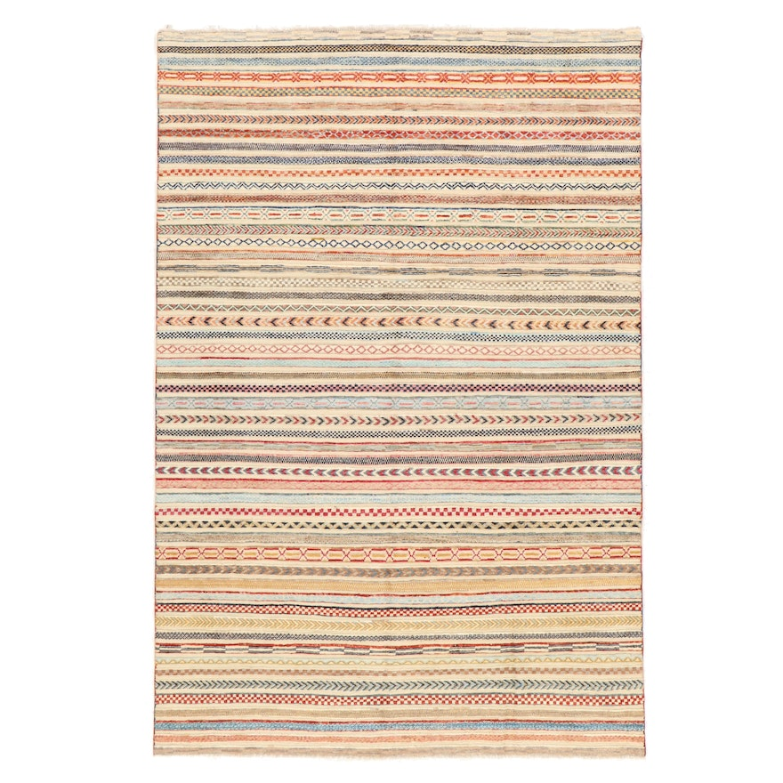 6'6 x 9'6 Hand-Knotted Pakistani Contemporary Style Area Rug