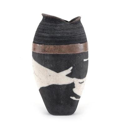 Hand-Crafted Raku Glazed Figural Pottery Vase