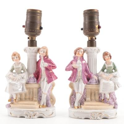 German Porcelain Figural Boudoir Lamps, 20th Century