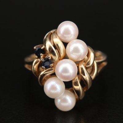 10K Pearl and Sapphire Openwork Ring