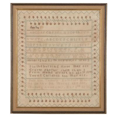 Polly Ann Taylor Cross-Stitch Alphabet School Sampler, 1820