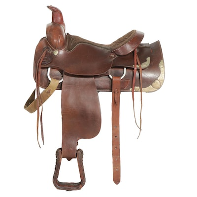 Leather Western Pleasure Saddle with Silver Trim