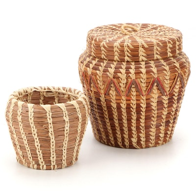 Native American Coushatta Longleaf Pine Needle Handcrafted Baskets