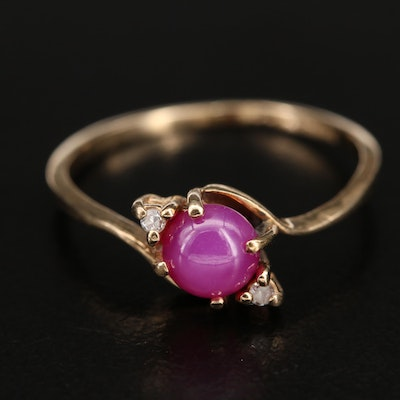 10K Star Ruby and Diamond Bypass Ring