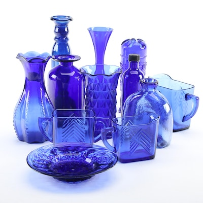 """Hazel Atlas """"Chevron"""" and Other Cobalt Blue Glass Tableware, Mid to Late 20th C."""