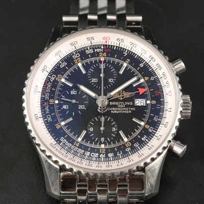 Breitling Navitimer World Stainless Steel Automatic Wristwatch
