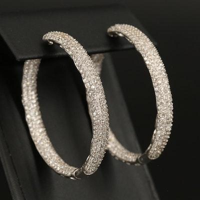 Sterling Cubic Zirconia Inside-Out Hoop Earrings