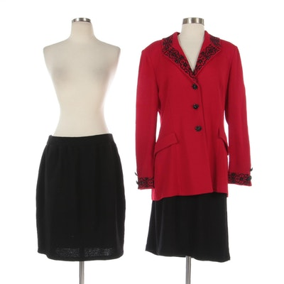 St. John Evening Embellished Red Knit Jacket with Other Black Knit Skirts