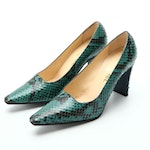 Chanel Pumps in Green/Black Python with Box