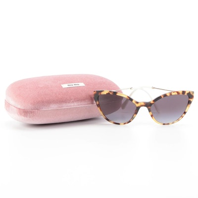 Miu Miu MU03US Modified Cat Eye Tortoise Gradient Lens Sunglasses with Case