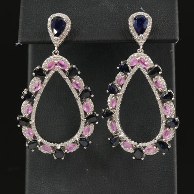 Sterling Teardrop Earrings with Pink and Blue Sapphire and Cubic Zirconia