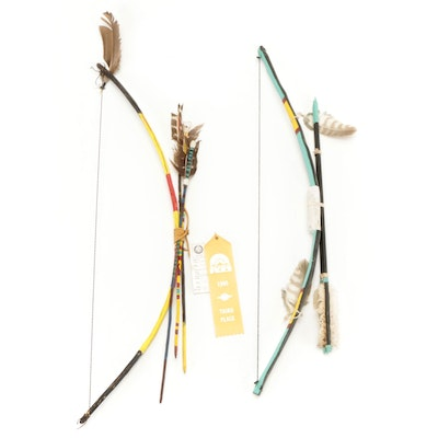 Nigel S. Harvey Handcrafted Navajo Childs Size Wood Bows and Arrows