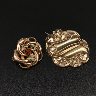 Victorian Scrollwork and Foliage Brooches