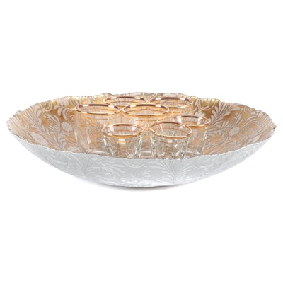 Gold and White Glass Floral Motif Serving Bowl with Liqueur Glasses
