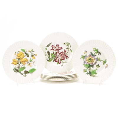 Cauldon England Flower Series Embossed Rim Plates, Mid-20th Century