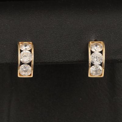10K Cubic Zirconia Half Hoop Earrings
