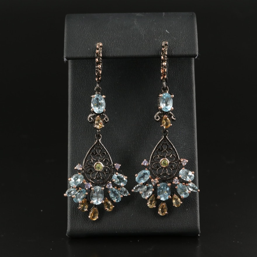 Sterling Drop Earrings with Sky Blue Topaz, Citrine and Peridot