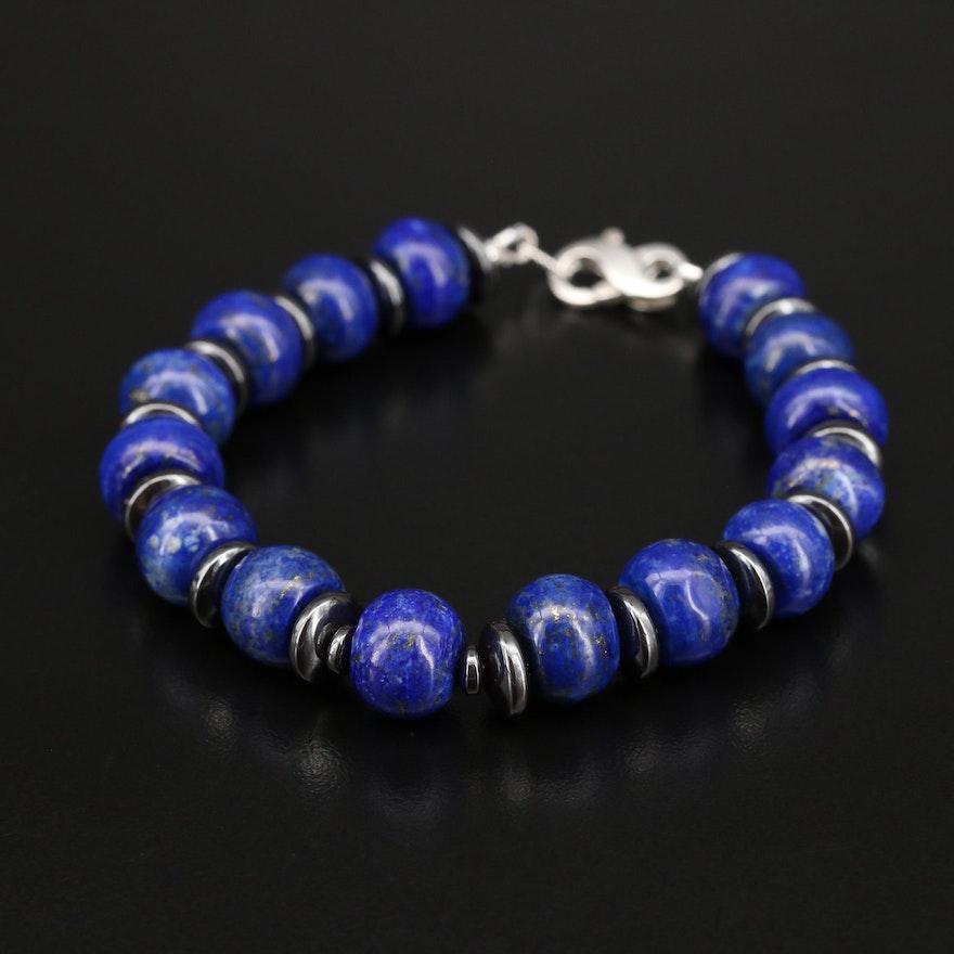 Sterling Lapis Lazuli and Hematite Beaded Bracelet