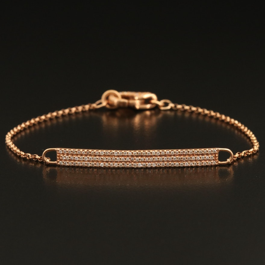 14K Rose Gold 0.48 CTW Pavé Diamond Bracelet