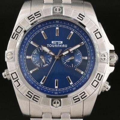 Tourneau Classic Day-Date Stainless Steel Quartz Wristwatch