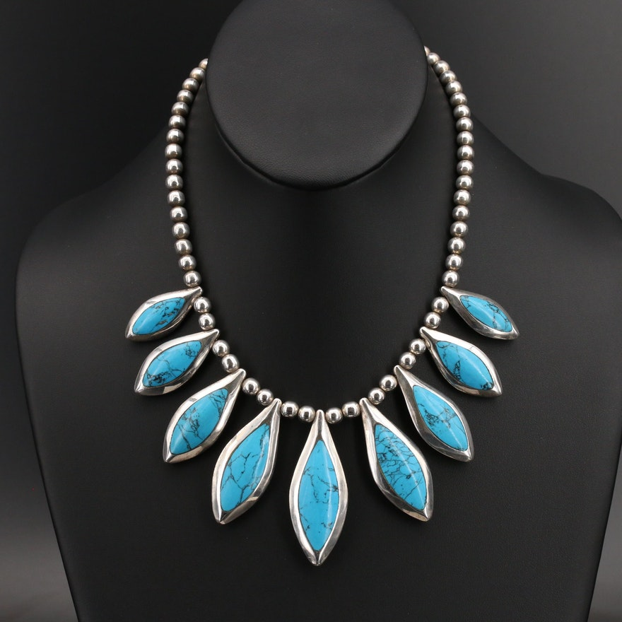Signed Mexican 950 Silver Turquoise and Onyx Reversible Navette Necklace