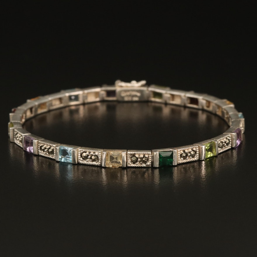 Sterling Gemstone Bracelet with Amethyst, Garnet and Peridot
