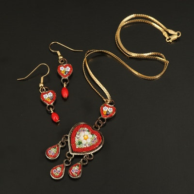 Italian Glass Micromosaic Heart Earrings and Necklace with 10K Chain